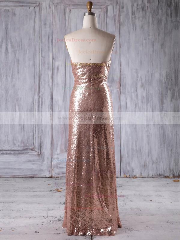 Sequined Sheath/Column Sweetheart Floor-length with Ruffles Bridesmaid Dresses #JCD01013244