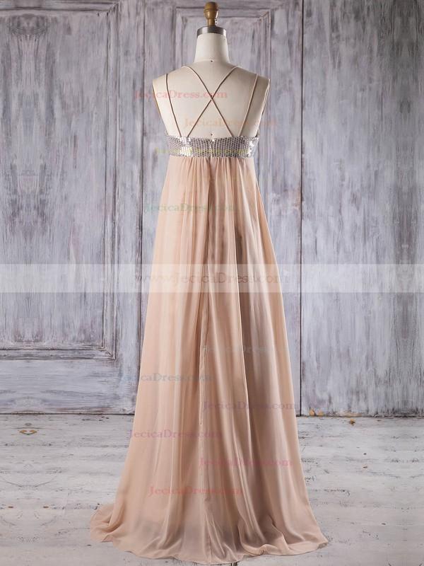 Chiffon Empire V-neck Floor-length with Sequins Bridesmaid Dresses #JCD01013247
