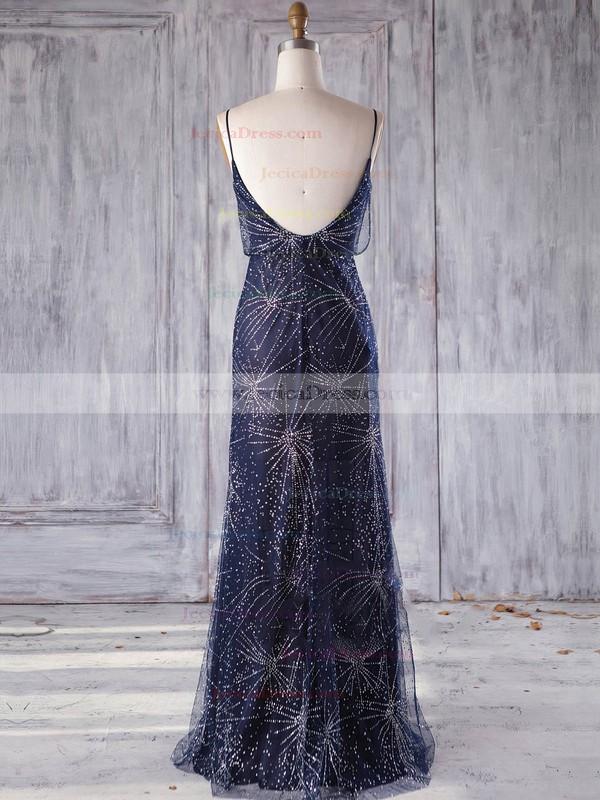 Tulle Sheath/Column V-neck Floor-length with Beading Bridesmaid Dresses #JCD01013248