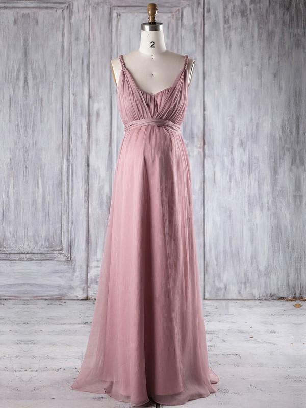 Chiffon Empire V-neck Floor-length with Ruffles Bridesmaid Dresses #JCD01013250