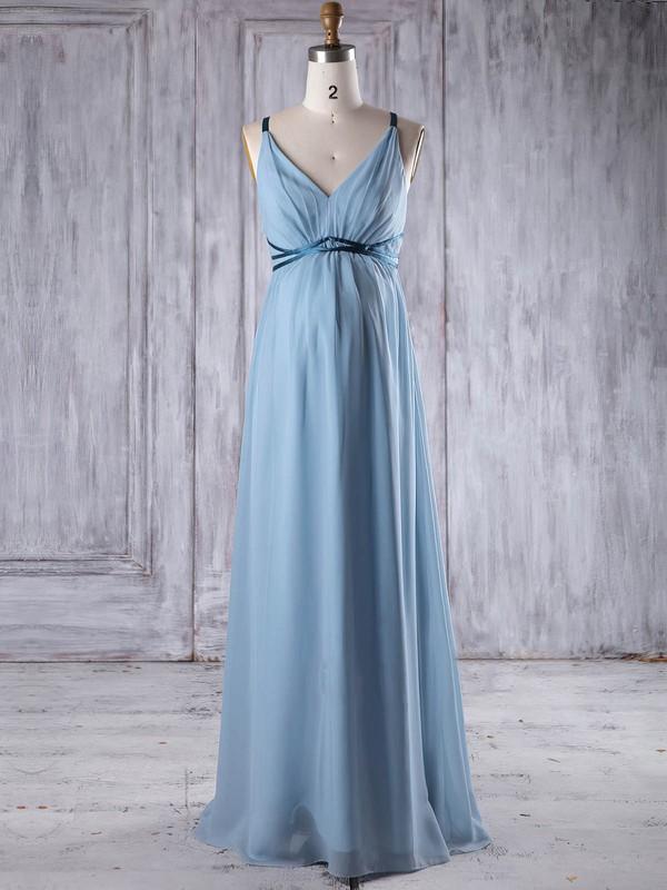 Chiffon Empire V-neck Floor-length with Sashes / Ribbons Bridesmaid Dresses #JCD01013262