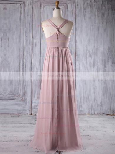 Chiffon Empire V-neck Floor-length with Flower(s) Bridesmaid Dresses #JCD01013263