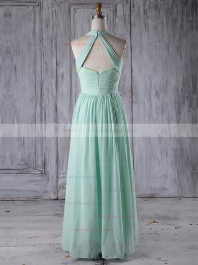 Chiffon A-line V-neck Floor-length with Ruffles Bridesmaid Dresses #JCD01013265