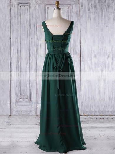 Chiffon A-line V-neck Floor-length with Ruffles Bridesmaid Dresses #JCD01013267