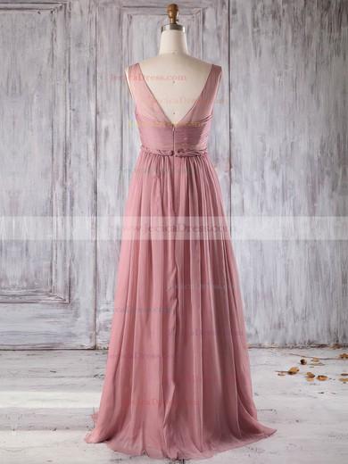 Chiffon A-line V-neck Floor-length with Ruffles Bridesmaid Dresses #JCD01013271