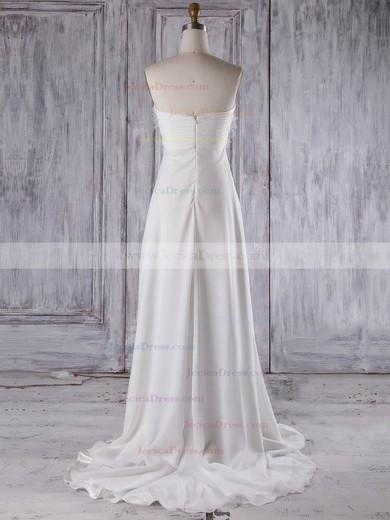 Chiffon Empire Sweetheart Sweep Train with Criss Cross Bridesmaid Dresses #JCD01013275