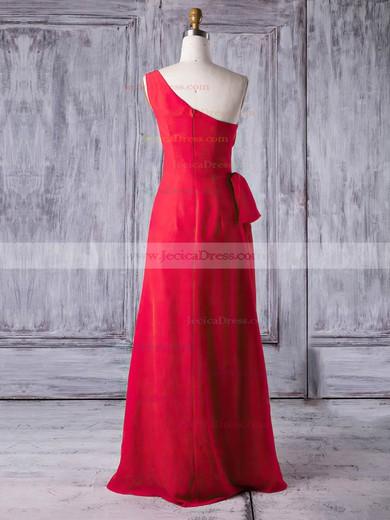 Chiffon Sheath/Column One Shoulder Floor-length with Ruffles Bridesmaid Dresses #JCD01013278