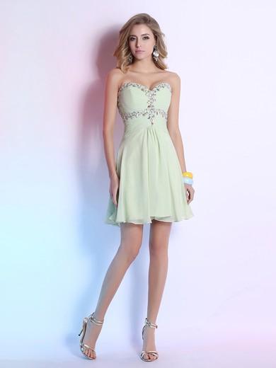 Ladies Sweetheart Sage Chiffon Crystal Detailing Short/Mini Prom Dresses #JCD02051638
