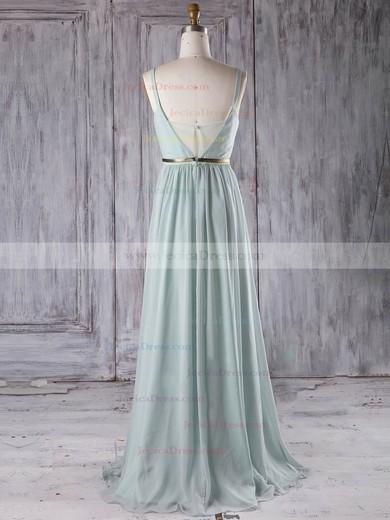 Chiffon A-line V-neck Floor-length with Sashes / Ribbons Bridesmaid Dresses #JCD01013281