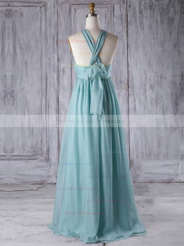 Chiffon Empire V-neck Floor-length with Ruffles Bridesmaid Dresses #JCD01013303