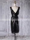 Sequined Sheath/Column V-neck Short/Mini with Ruffles Bridesmaid Dresses #JCD01013313