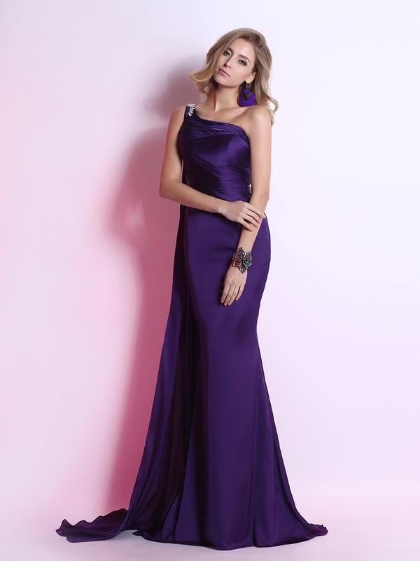 Sweep Train Purple Silk-like Satin Ruffles Great One Shoulder Prom Dress #JCD02023102