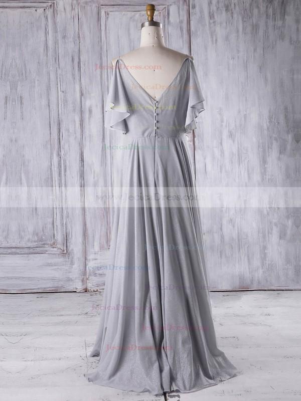 Chiffon A-line V-neck Floor-length with Ruffles Bridesmaid Dresses #JCD01013326