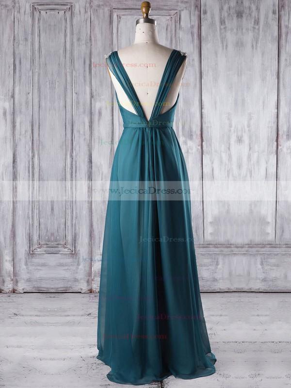 Chiffon A-line V-neck Floor-length with Sashes / Ribbons Bridesmaid Dresses #JCD01013338