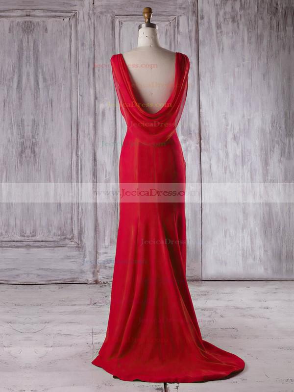 Chiffon Silk-like Satin Trumpet/Mermaid Scoop Neck Sweep Train with Ruffles Bridesmaid Dresses #JCD01013340