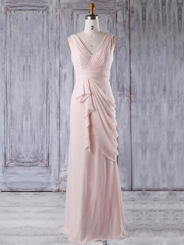 Chiffon Sheath/Column V-neck Floor-length with Ruffles Bridesmaid Dresses #JCD01013356