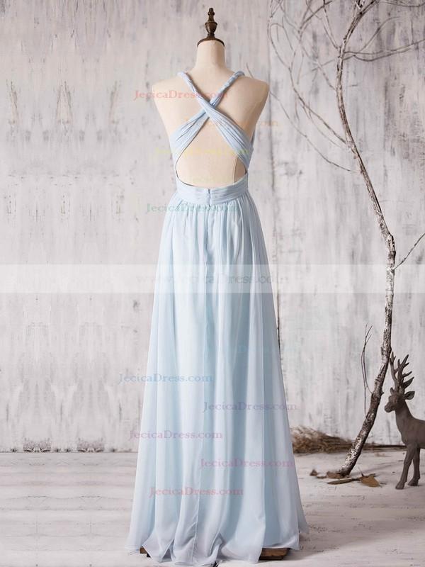 Chiffon A-line V-neck Floor-length with Ruffles Bridesmaid Dresses #JCD01013372