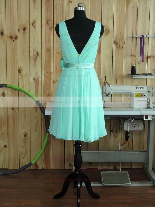 Chiffon A-line V-neck Short/Mini with Sashes / Ribbons Bridesmaid Dresses #JCD01013380