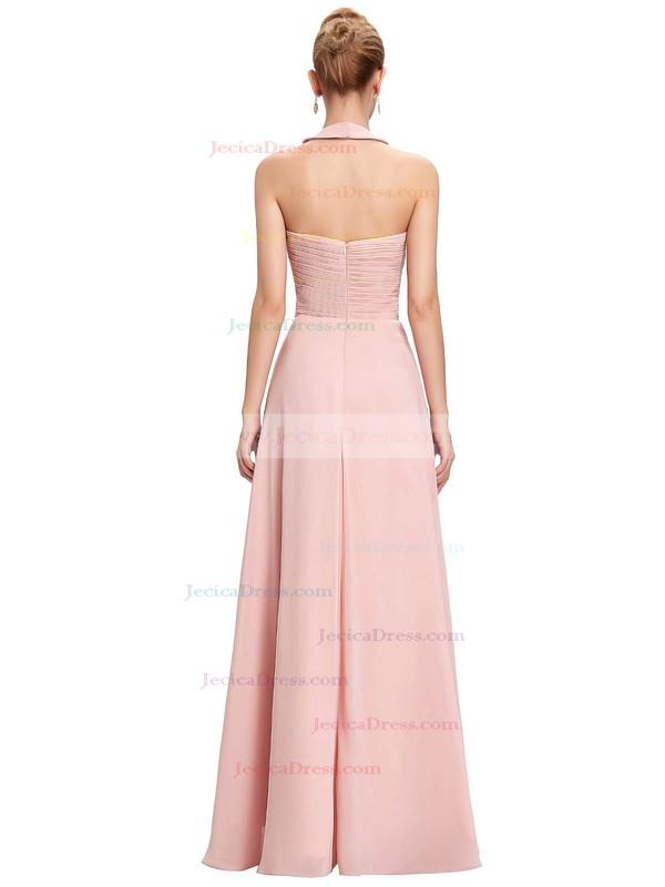 Chiffon A-line Halter Floor-length with Flower(s) Bridesmaid Dresses #JCD01013396