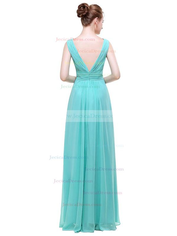 Chiffon A-line V-neck Floor-length with Beading Bridesmaid Dresses #JCD01013440