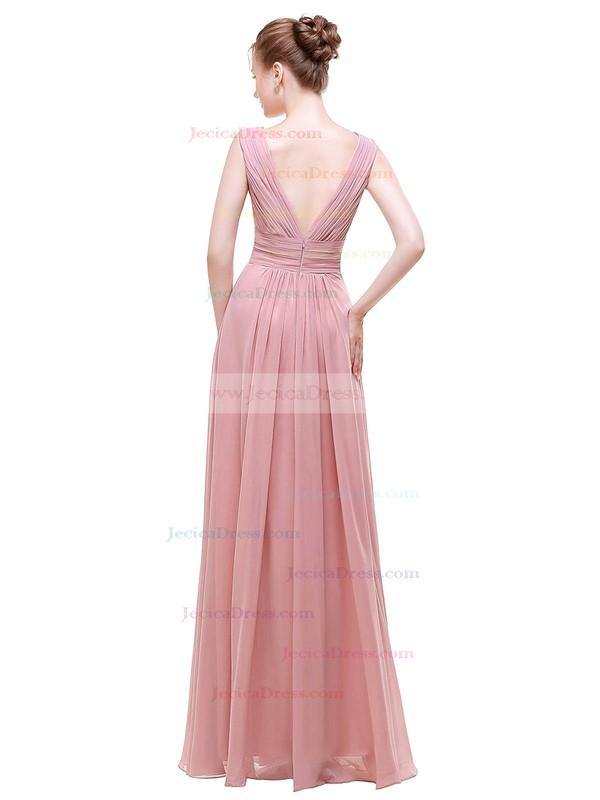 Chiffon A-line V-neck Floor-length with Beading Bridesmaid Dresses #JCD01013441