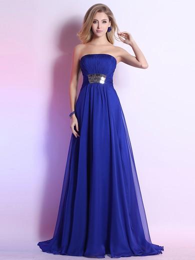 Ladies Strapless A-line Pleats Sweep Train Royal Blue Chiffon Prom Dress #JCD02023103