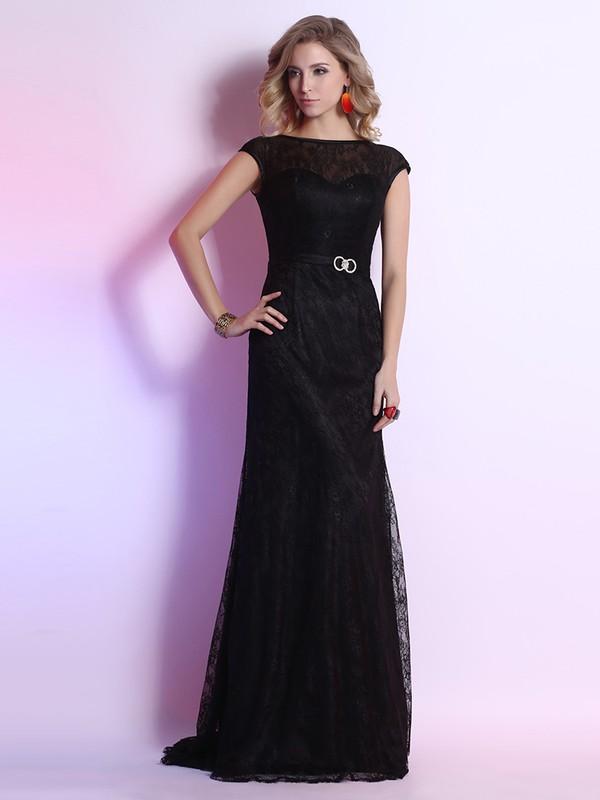 Scoop Neck Sashes/Ribbons Modest Sheath/Column Black Lace Prom Dresses #JCD02023108