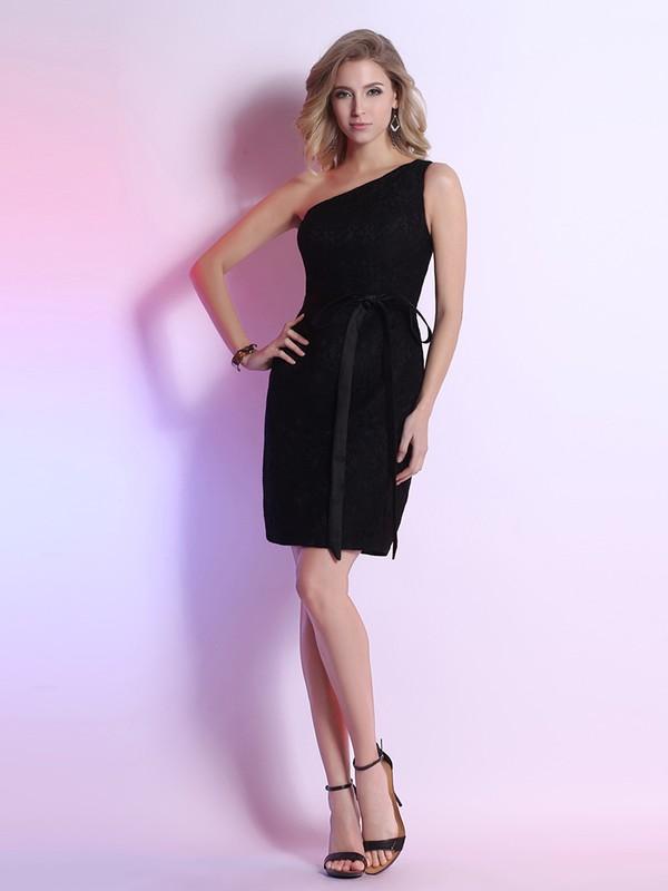 Cheap Sheath/Column Short Black Lace Sashes/Ribbons One Shoulder Prom Dress #JCD02042223