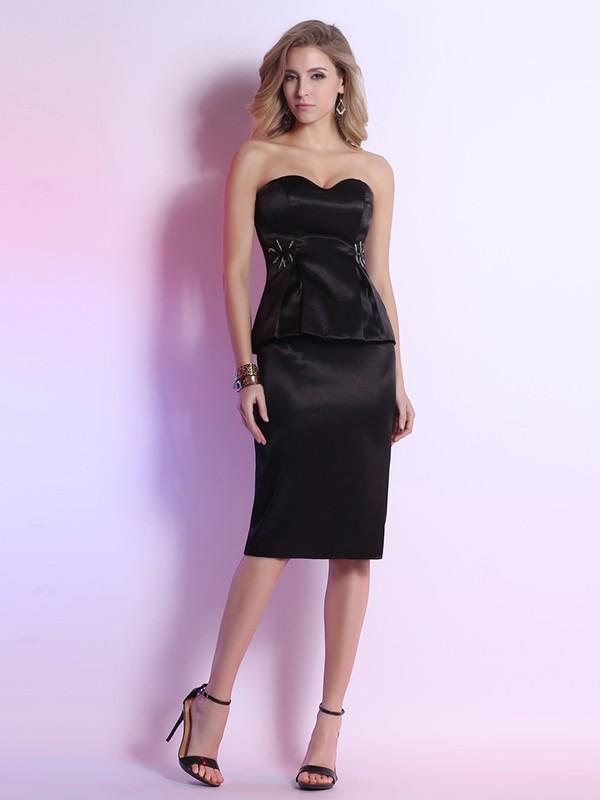 Cool Knee-length Sweetheart Beading Sheath/Column Black Satin Prom Dress #JCD02023110