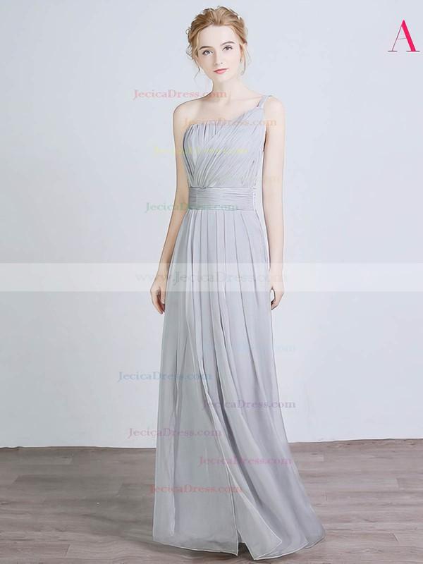 Chiffon Silk-like Satin A-line One Shoulder Floor-length with Split Front Bridesmaid Dresses #JCD01013429