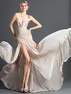 Chiffon Sheath/Column V-neck Sweep Train with Split Front Prom Dresses #JCD020104159