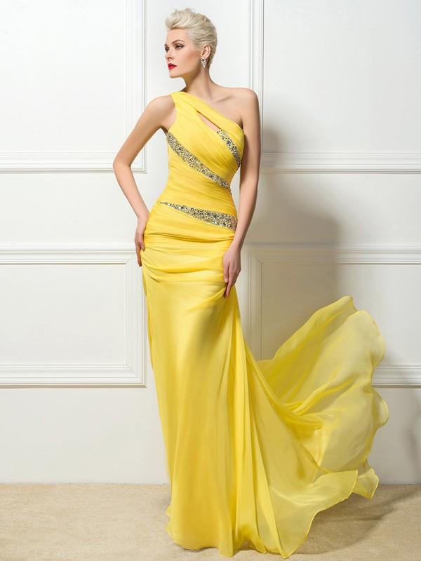 Chiffon Sheath/Column One Shoulder Sweep Train with Beading Prom Dresses #JCD020104161