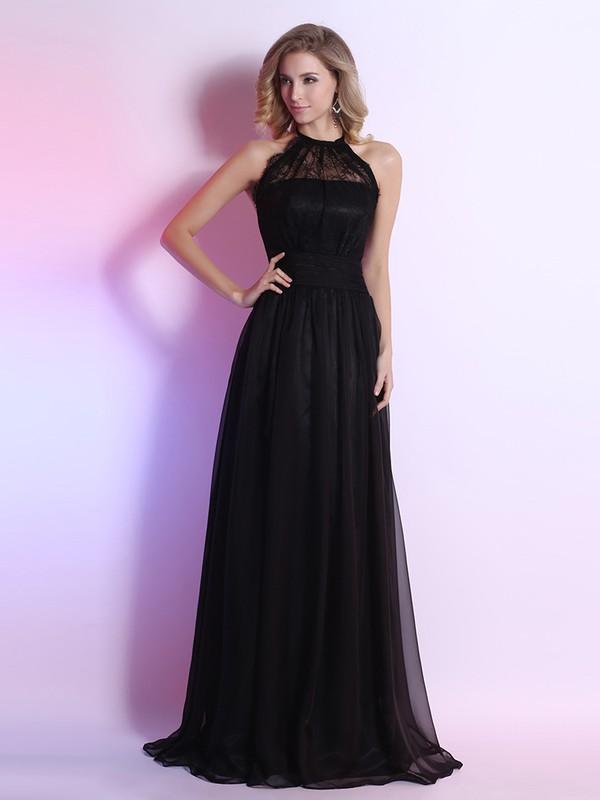 Perfect Halter Sashes / Ribbons Open Back Black Chiffon Lace Prom Dresses #JCD02023111