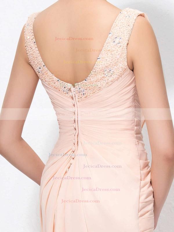 Chiffon Sheath/Column Cowl Neck Floor-length with Sequins Prom Dresses #JCD020104173