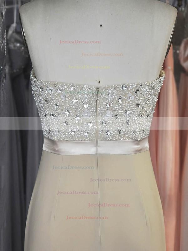 Chiffon Sheath/Column Sweetheart Sweep Train with Sashes / Ribbons Prom Dresses #JCD020104214