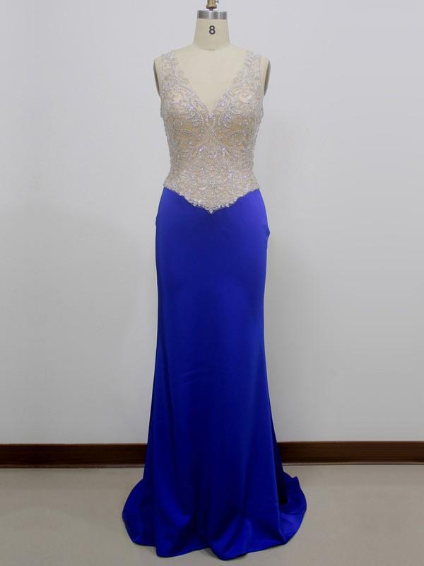 Tulle Silk-like Satin Sheath/Column V-neck Sweep Train with Beading Prom Dresses #JCD020104252