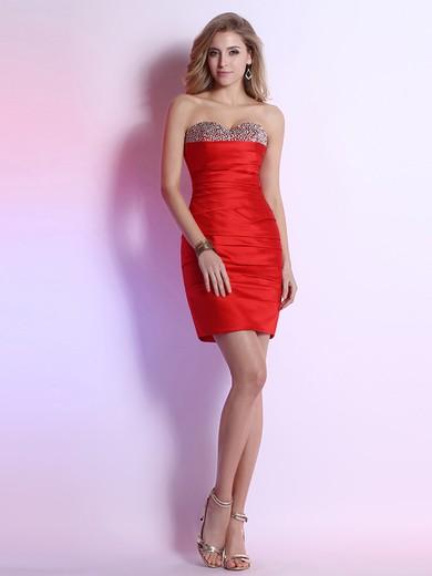 Sheath/Column Custom Red Satin Beading Short/Mini Sweetheart Prom Dress #JCD02051647
