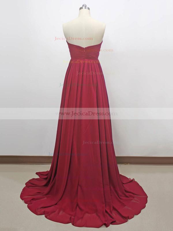 Chiffon Empire Sweetheart Sweep Train with Beading Prom Dresses #JCD020104263