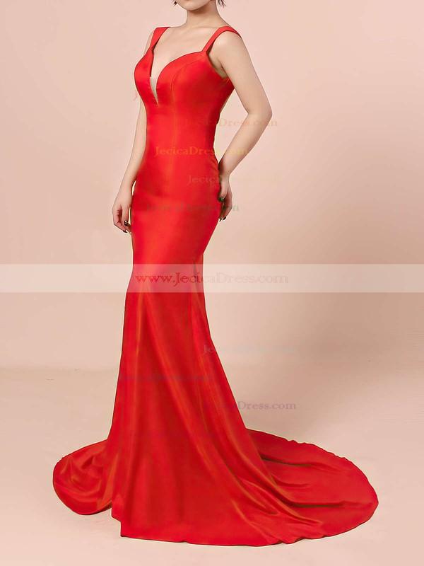 Silk-like Satin Trumpet/Mermaid V-neck Sweep Train with Split Front Prom Dresses #JCD020104348