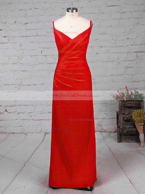 Jersey Sheath/Column V-neck Ankle-length with Split Front Prom Dresses #JCD020104358