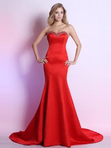 Elegant Sweetheart Red Satin Cascading Ruffles Trumpet/Mermaid Prom Dresses #JCD02023119