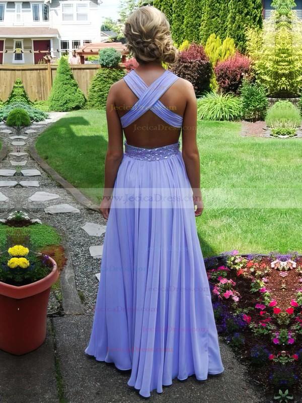 Chiffon A-line V-neck Floor-length with Beading Prom Dresses #JCD020104383