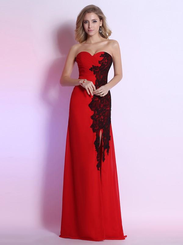 Perfect Sweetheart Split Front Sheath/Column Red Chiffon Lace Prom Dresses #JCD02023120