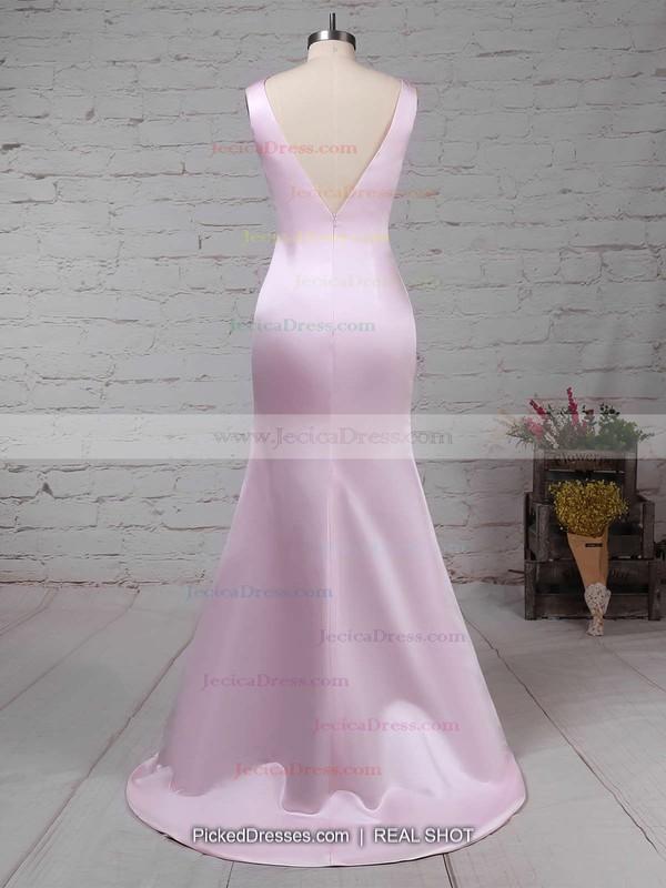 Silk-like Satin Sheath/Column Scoop Neck Sweep Train with Ruffles Prom Dresses #JCD020104408
