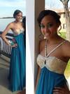 Chiffon Empire V-neck Floor-length with Beading Prom Dresses #JCD020104422