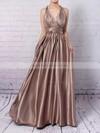 Silk-like Satin A-line V-neck Ankle-length with Ruffles Prom Dresses #JCD020104433
