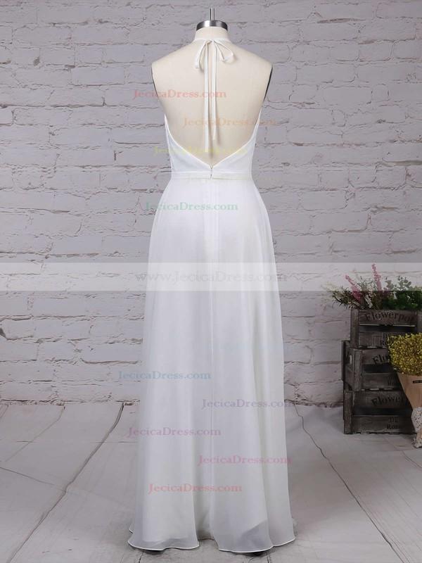 Chiffon A-line V-neck Ankle-length with Split Front Prom Dresses #JCD020104497