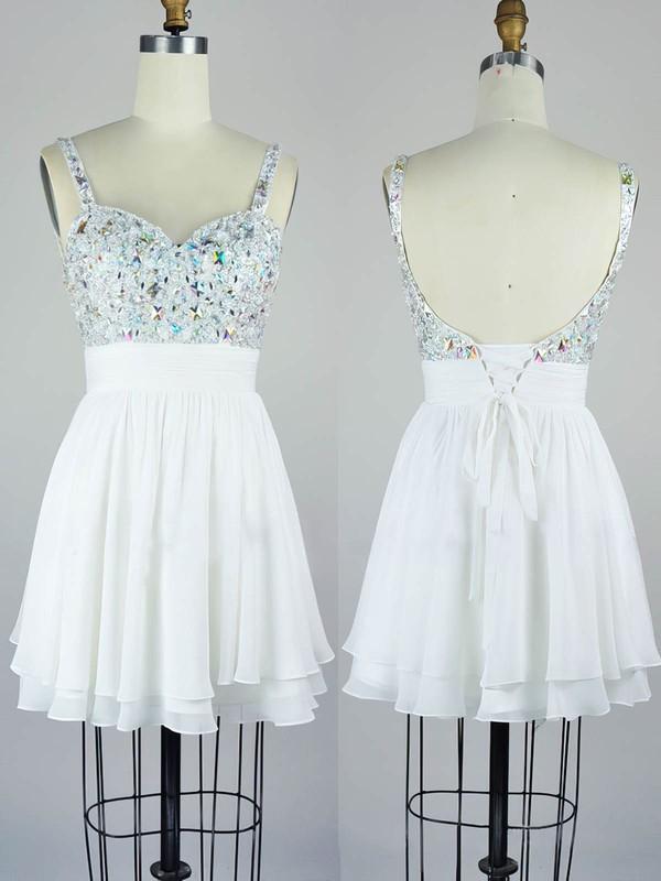 Chiffon A-line V-neck Short/Mini with Crystal Detailing Prom Dresses #JCD020104129