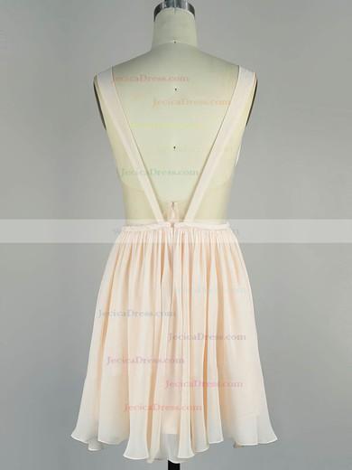 Chiffon A-line V-neck Short/Mini with Sashes / Ribbons Prom Dresses #JCD020104136