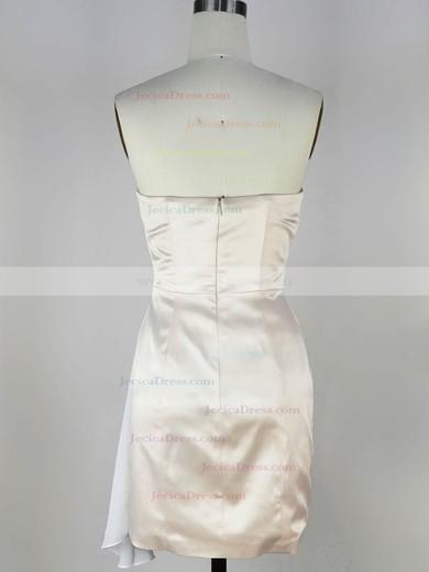 Chiffon Silk-like Satin Sheath/Column Sweetheart Short/Mini with Ruffles Prom Dresses #JCD020104137